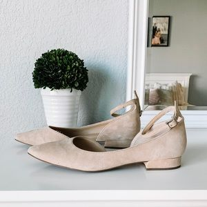 Franco Sarto Nude Suede Ankle Strap Flat Size 9